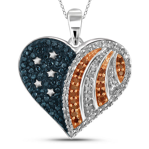 1/3 CT. T.W. White and Color-Enhanced Blue and Red Diamond Flag Heart Pendant Necklace