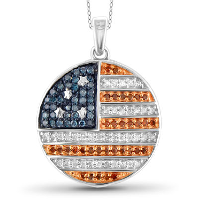 1/3 CT. T.W. White and Color-Enhanced Blue and Red Diamond Flag Pendant Necklace