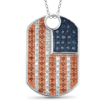 1/4 CT. T.W. White and Color-Enhanced Blue and Red Diamond Flag Pendant Necklace