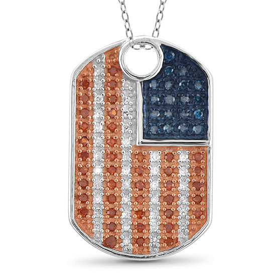 1 4 Ct Tw White And Color Enhanced Blue And Red Diamond Flag Pendant Necklace