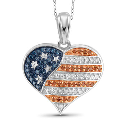 1/4 CT. T.W. White and Color-Enhanced Blue and Red Diamond Flag Heart Pendant