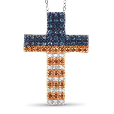 1/4 CT. T.W. White and Color-Enhanced Blue and Red Diamond Flag Cross Pendant