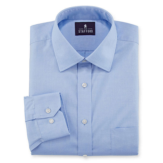 Stafford Mens Non-Iron Cotton Pinpoint Oxford Spread Collar Dress Shirt