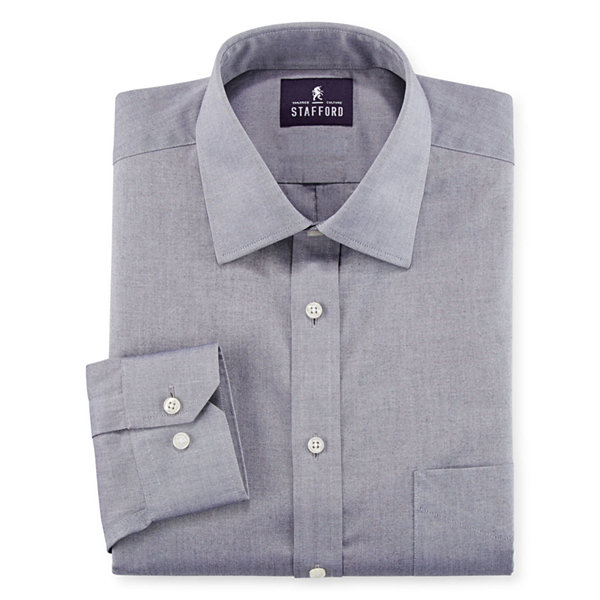 Stafford executive non iron cotton pinpoint oxford dress for Stafford dress shirts fitted