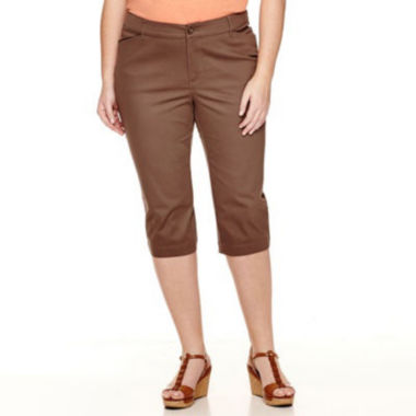"St. John's Bay® Secretly Slender Twill Cropped Pants-Plus (19"")"
