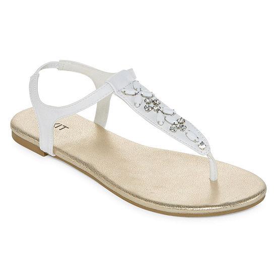 Mixit Jewel Embellished T Strap Sandals