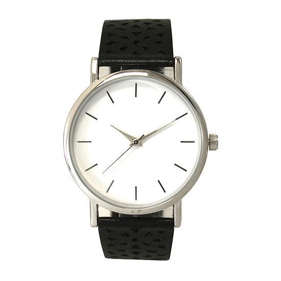 Olivia Pratt Laser Cut Womens Black Strap Watch-16346