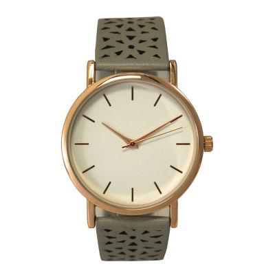Olivia Pratt Laser Cut Womens Gray Strap Watch-16258