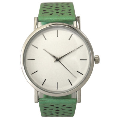 Olivia Pratt Laser Cut Womens Green Strap Watch-16258