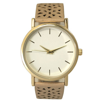 Olivia Pratt Laser Cut Womens Brown Strap Watch-16258