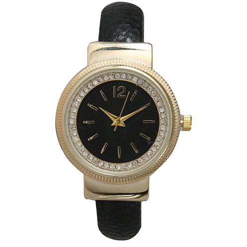 Olivia Pratt Womens Black Bangle Watch-15364