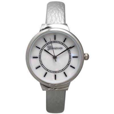Olivia Pratt Metallic Womens Silver Tone Bangle Watch-13990
