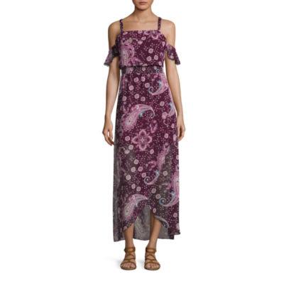 City Triangle Short Sleeve Paisley Maxi Dress-Juniors