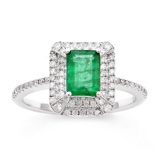 LIMITED QUANTITIES! Womens 1/3 CT. T.W. Genuine Emerald 14K Gold Cocktail Ring