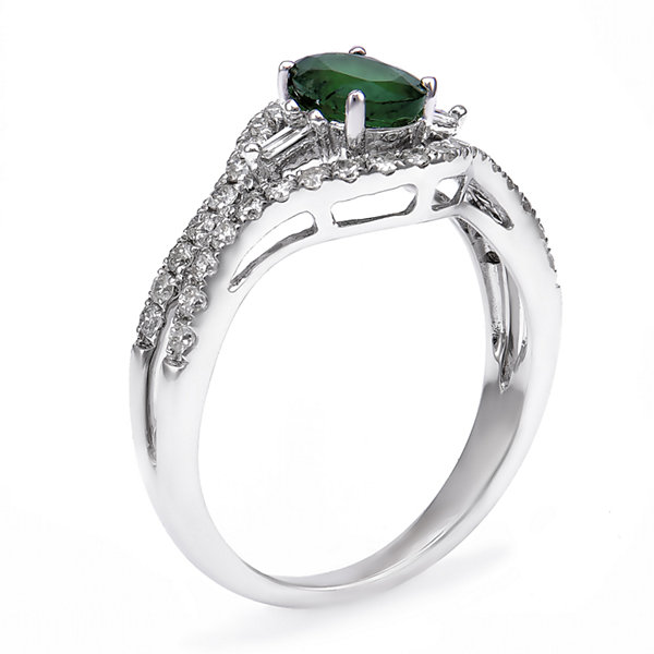 Womens 1/2 CT. T.W. Genuine Emerald 14K Gold Cocktail Ring