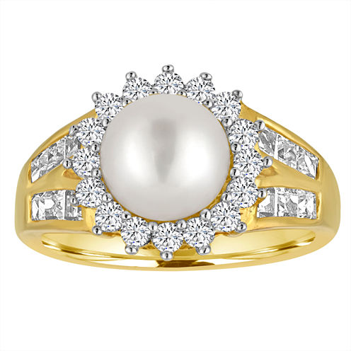 Cultured Freshwater Pearl & Lab-Created White Sapphire 14K Yellow Gold Over Silver Ring