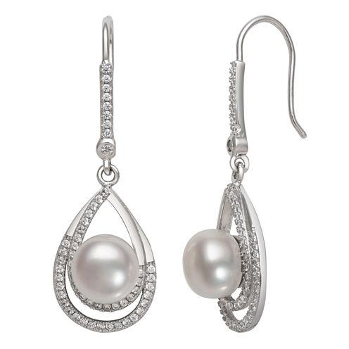 White Pearl Sterling Silver Drop Earrings