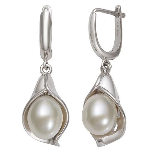 Cultured Freshwater Pearl Sterling Silver Drop Earrings