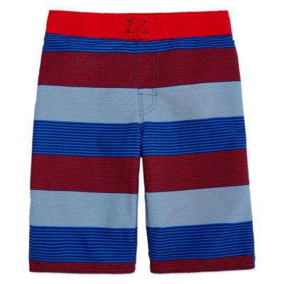 Arizona Boys Stripe Swim Trunks-Big Kid