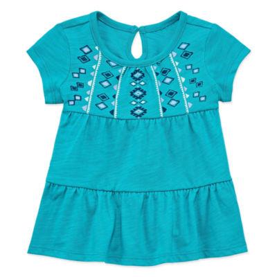 Arizona Short Sleeve Babydoll Top - Baby Girls
