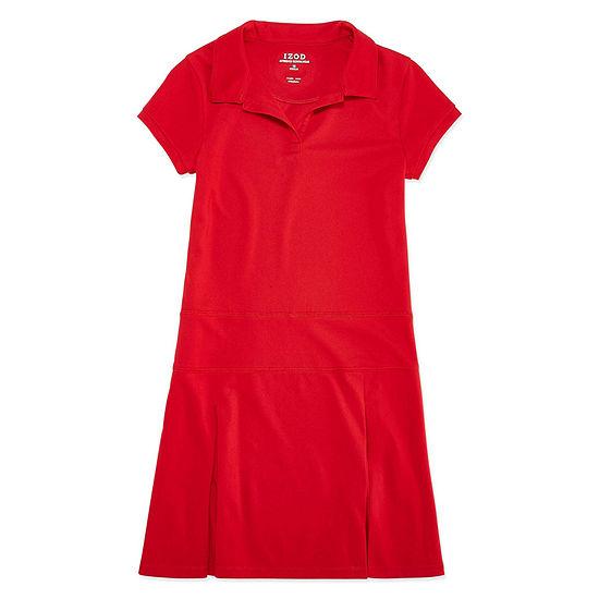 Izod Exclusive Girls Short Sleeve Fitted Sleeve - Preschool / Big Kid Shirt Dress