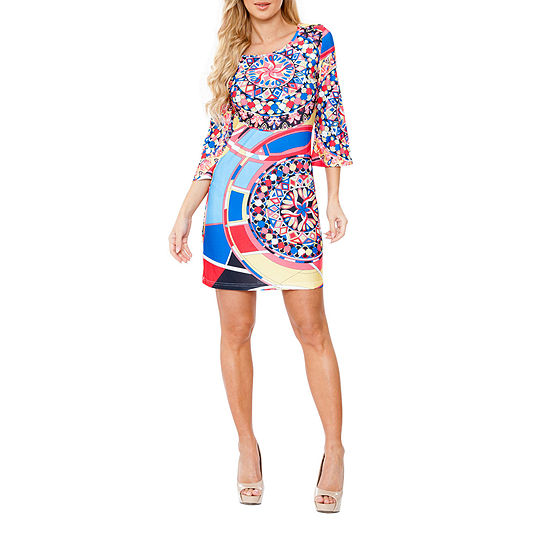 White Mark Nikki 3/4 Sleeve Geometric Sheath Dress