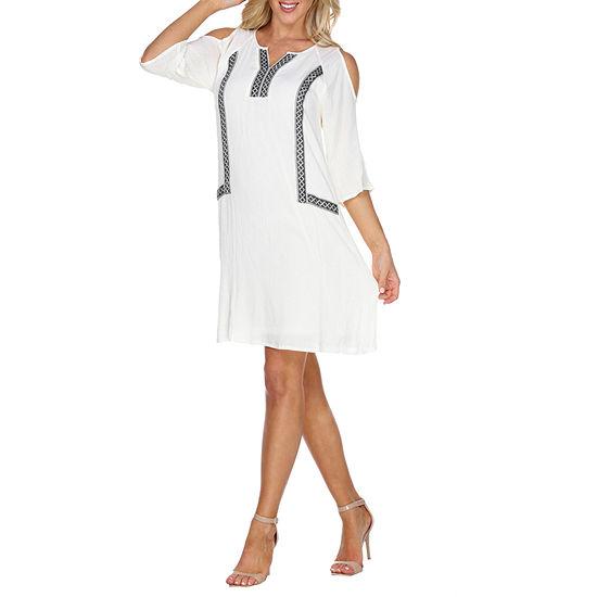 White Mark Marybeth 3/4 Sleeve Sheath Dress