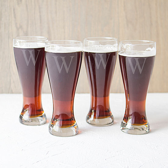 Cathy's Concepts Set of 4 Engravable Pilsner Glasses