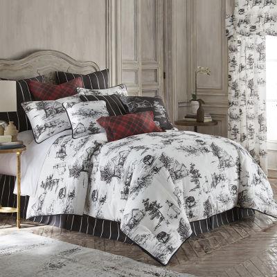 Toile Back In Black Linen Comforter Set