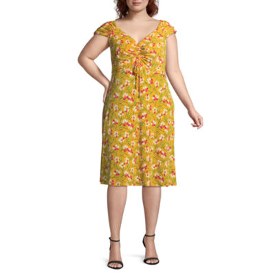 London Times Short Sleeve Floral Fit & Flare Dress - Plus