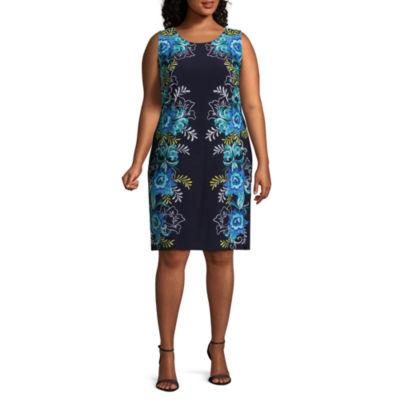 MSK Sleeveless Floral Shift Dress - Plus