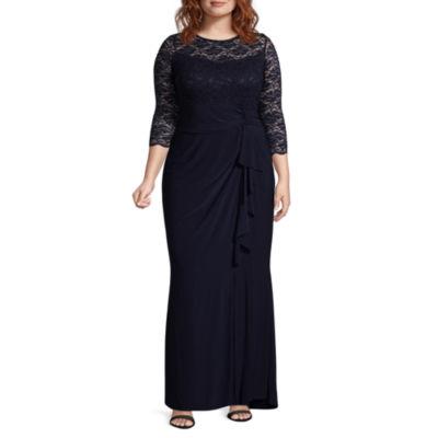 Blu Sage 3/4 Sleeve Evening Gown - Plus