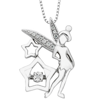 Womens Diamond Accent Genuine White Sterling Silver Tinker Bell Pendant Necklace