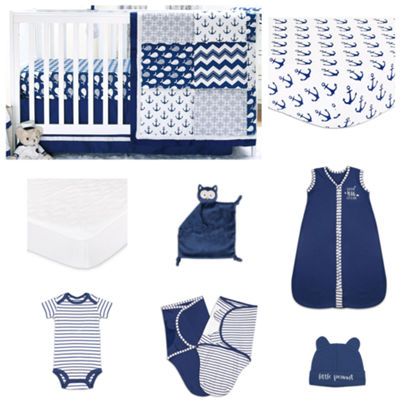 The Peanut Shell Navy Whale Crib Bedding Set