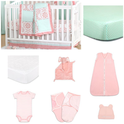 The Peanut Shell Pretty  Medallion Crib Bedding Set