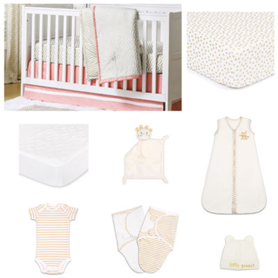 The Peanut Shell Confetti Coral Crib Bedding Set
