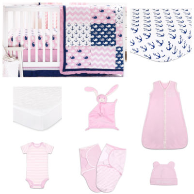 The Peanut Shell Pink Whale Crib Bedding Set