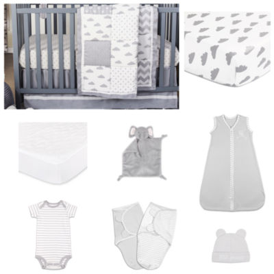 The Peanut Shell Patchy Cloud Crib Bedding Set