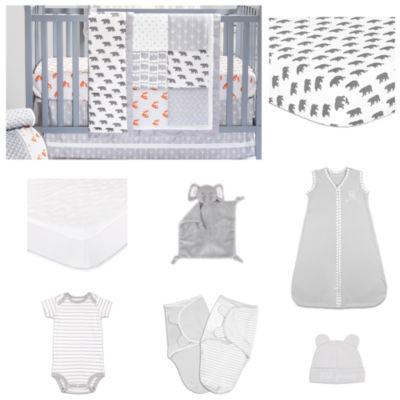 The Peanut Shell Grey Woodland Crib Bedding Set