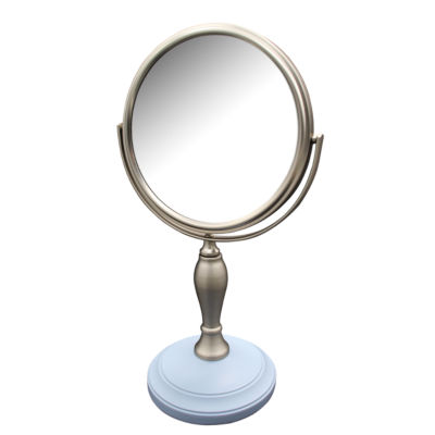 Fair Lady Freestanding Bath Magnifying Makeup Mirror with Frost Blue base and Mew pedestal