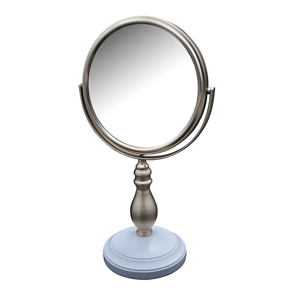 Annabella Freestanding Bath Magnifying Makeup Mirror with Frost Blue base and Chi Chi Pedestal