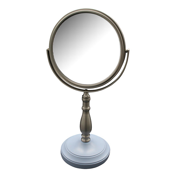 Briggs Freestanding Bath Magnifying Makeup Mirror with Frost Blue base and Nana Pedestal