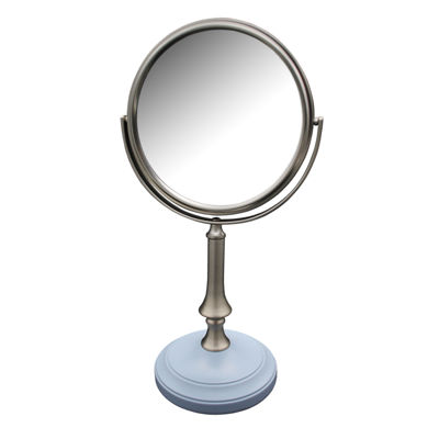 Simplicity Freestanding Bath Magnifying Makeup Mirror with Frost Blue base and Jinjin Pedestal