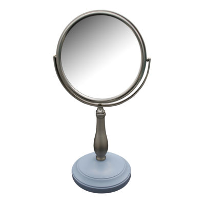 Clancy Freestanding Bath Magnifying Makeup Mirror with Frost Blue base and Pewy pedestal