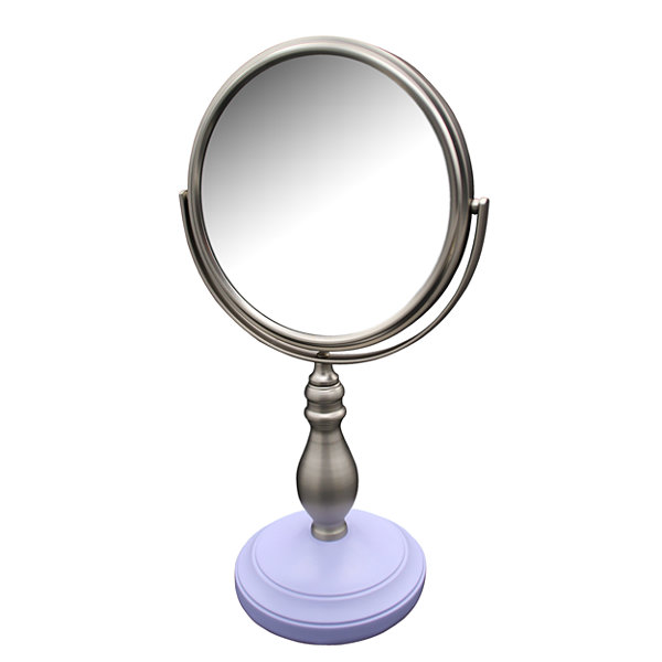 Annabella Freestanding Bath Magnifying Makeup Mirror with Lavender Purple base and Chi Chi Pedestal
