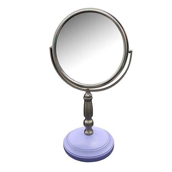 Dexter Freestanding Bath Magnifying Makeup Mirror with Lavender Purple base and Daisy pedestal