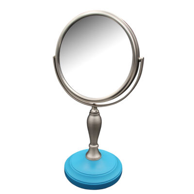 Fair Lady Freestanding Bath Magnifying Makeup Mirror with Deep Sea Blue base and Mew pedestal