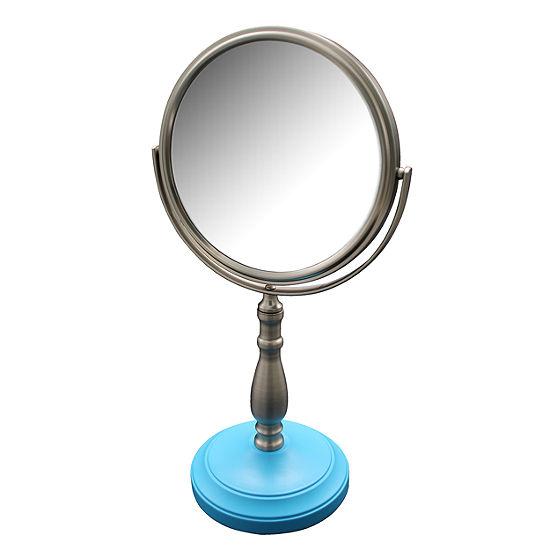 Briggs Freestanding Bath Magnifying Makeup Mirror with Deep Sea Blue base and Nana Pedestal
