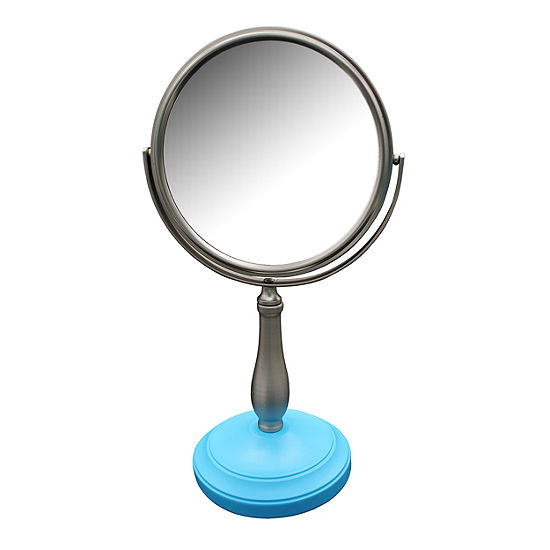 Clancy Freestanding Bath Magnifying Makeup Mirror with Deep Sea Blue base and Pewy pedestal