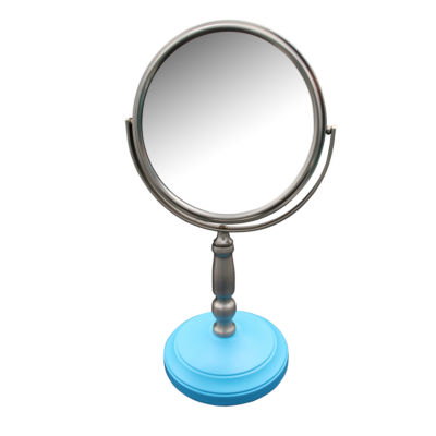 Dexter Freestanding Bath Magnifying Makeup Mirror with Deep Sea Blue base and Daisy pedestal